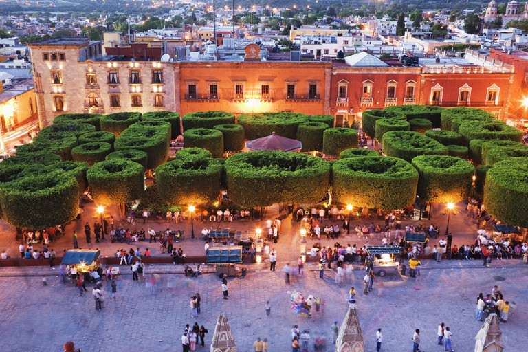 """the main square """"jardin"""" at dusk from the parroquia, san miguel de allende, mexico"""