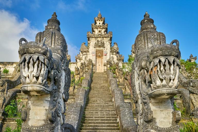 Faces of dragons in front of Pura Penataran Lempuyang Temple, Bali, Indonesia