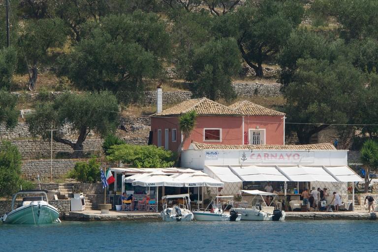Waterside restaurant Mongonissi Paxos Ionian Islands Greece