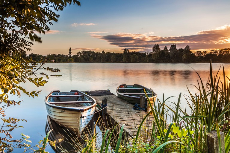 Late summer sunrise on one of the lakes at Cotswold Water Park