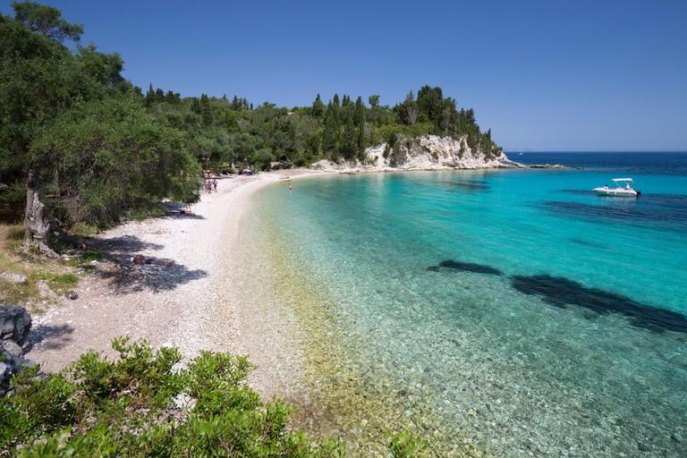 HH4BMW Marmaria beach on east coast, Paxos, Ionian Islands, Greek Islands, Greece, Europe