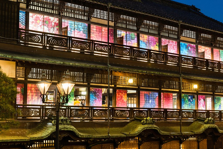 HJ35P4 Japan, Matsuyama. Meiji period tourist attraction, the wooden Dogo Onsen bathhouse