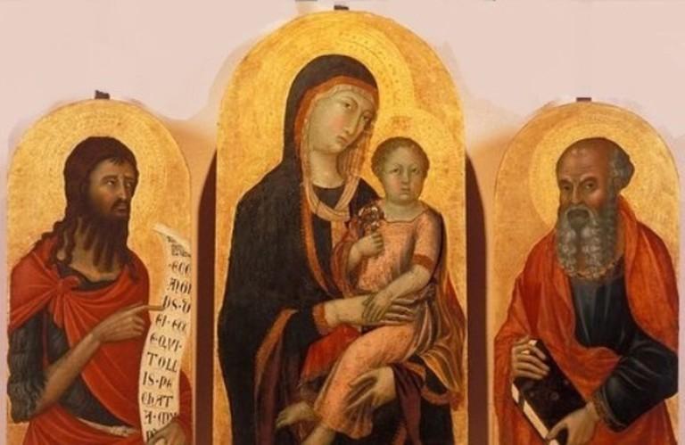 Niccolo di Segna, Madonna in trono tra s. Giovanni Battista e s. Giovanni Evangelista, Museo Diocesano di Pienza