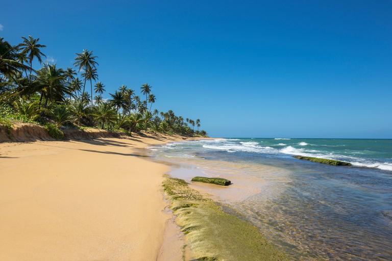 EXPOSED ROCKS PLAYA PINONES BEACH LOIZA PUERTO RICO
