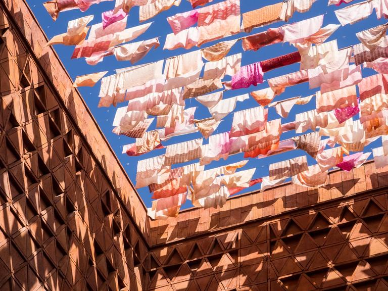Fluttering fabrics, Textile Museum, Oaxaca, Mexico, North America