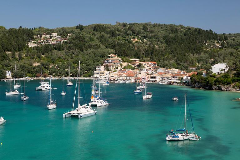 Yachts anchored in bay, Lakka, Paxos, Ionian Islands, Greek Islands, Greece