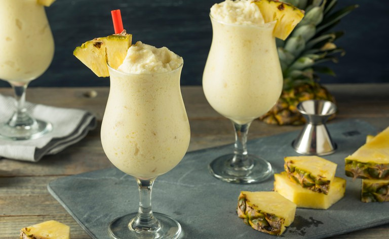 Homemade Frozen Pina Colada Cocktail with a Pineapple Garnish