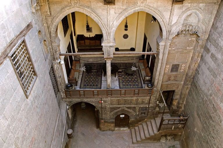 Egypt, Cairo, Old Town, Gayer Anderson museum, atrium, terrace,