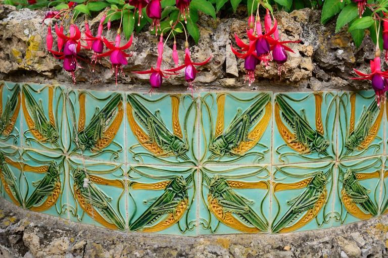 Tiles by Rafael Bordalo Pinheiro at the gardens of the Ceramics Museum (Museu da Ceramica). Caldas da Rainha, Portugal