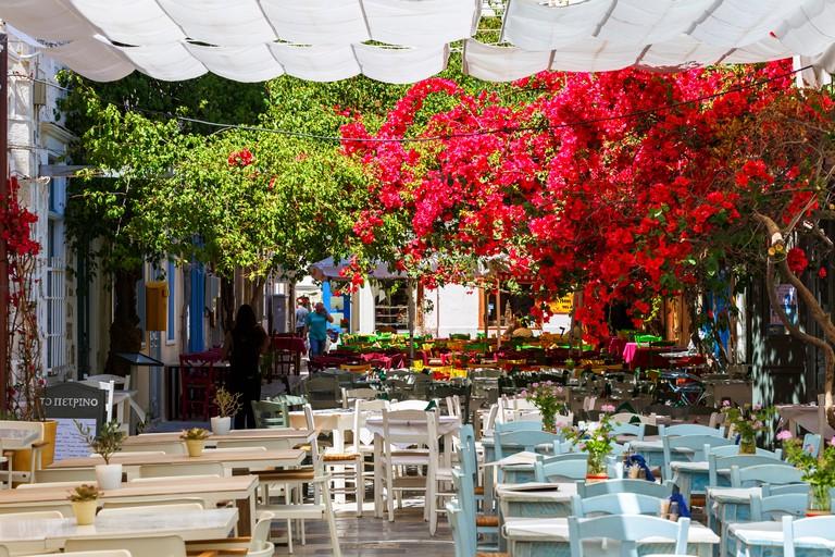 Restaurants in Ermoupoli town on Syros island in Greece.