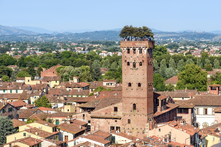 medieval town of Lucca and the Torre Guinigi (Guinigi Tower), tuscany, italy