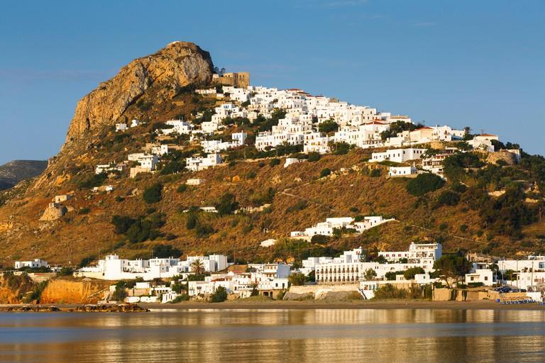 Chora of Skyros island as seen from a nearby beach, Greece.