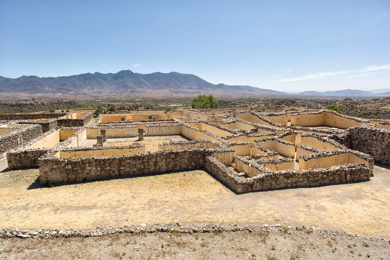 a labyrinthine structure forming an intricate complex of passageways and many rooms at the ruins of Yagul Oaxaca Mexico