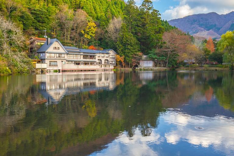 KEDTJN Autumn Kinrin-ko lake in Yufuin, Oita, Japan