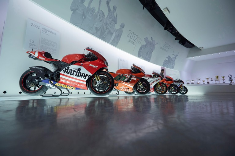 Loris Capirossi's Ducati Desmosedici GP03 Motocycle on display at the Ducati factory museum, Bologna, Italy.