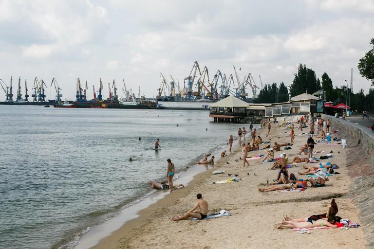 Berdyansk, Ukraine - August 31, 2016: City beach with vacationers