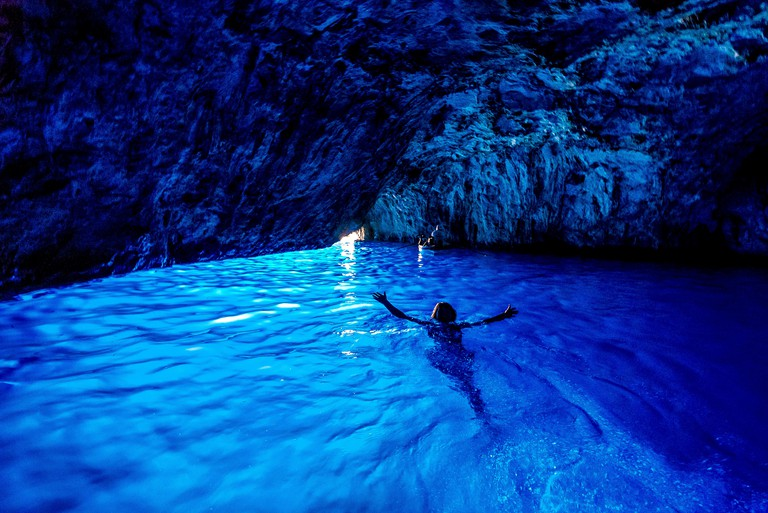 The famous Blue Grotto on the Island of Capri in Italy
