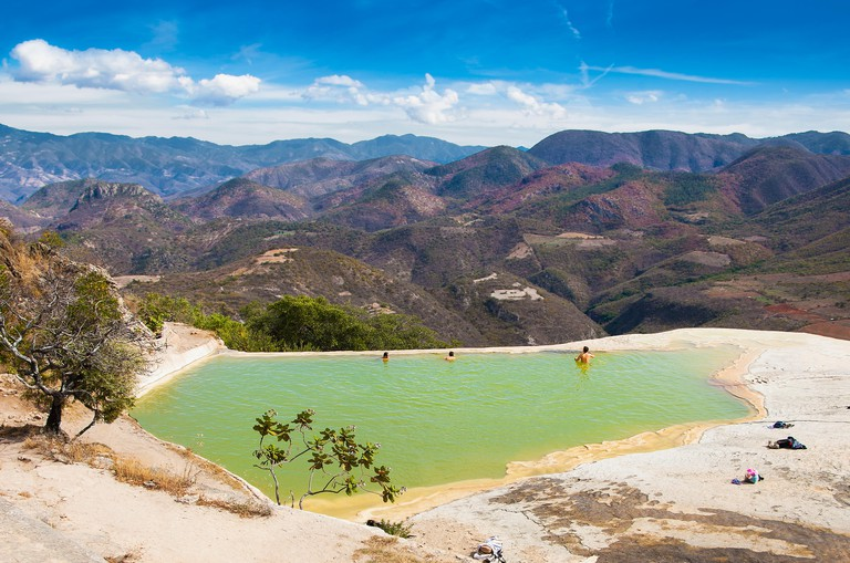 Thermal Mineral Spring Hierve el Agua, natural rock formations in Oaxaca, Mexico.