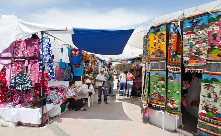Otavalo market stalls, Otavalo, Ecuador South America