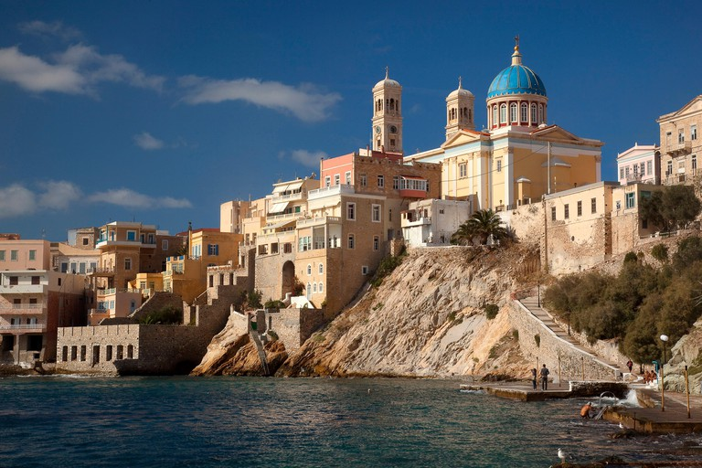 View to the Neo Classic Greek Orthodox Church of Saint Nicholas at the background, Ermoupolis, Syros, Cyclades Islands, Greek Islands, Greece ,