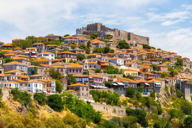 The castle of Molyvos against a clear sky on the north part of Lesvos, in the province of Ancient Mithymna, the second biggest fortress