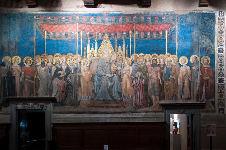KRRWN8 Maesta by Lippo Memmi in Sala di Dante in Palazzo Comunale in San Gimignano