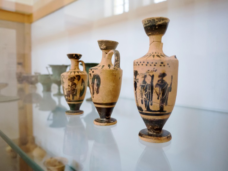 small ancient artifacts from the period of odysseus found inside a cave and now stored in the national museum of Ithaca July 28th 2015, Greece