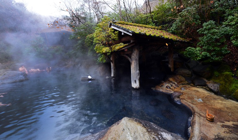 M6WAKA The riverside Yamamizuki Rotenburo ( outdoor hot spring bath ) in Kurokawa onsen in Kyushu, Japan