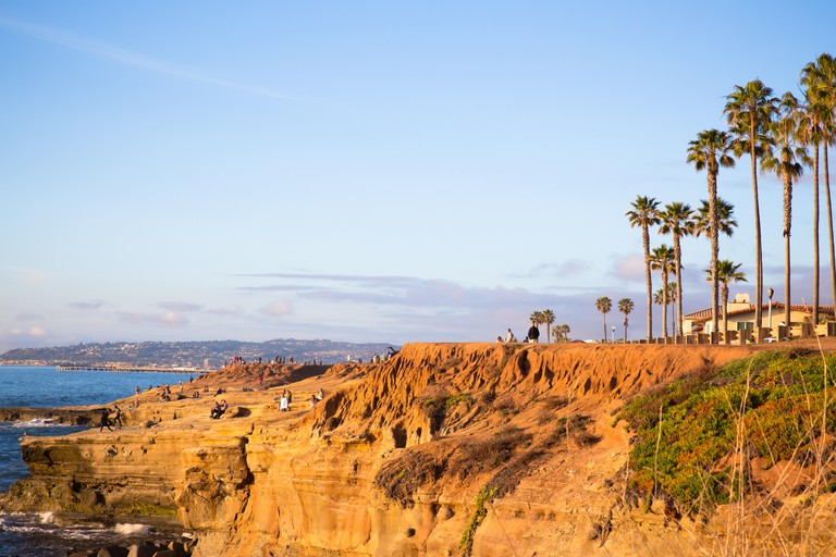 SAN DIEGO, CALIFORNIA - MARCH 11, 2018: View of beautiful San Diego in southern California seen from Sunset Cliffs in Point Loma.