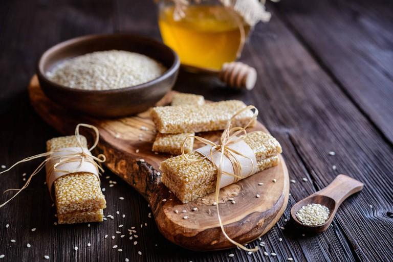 Sweet healthy sesame seed and honey bars