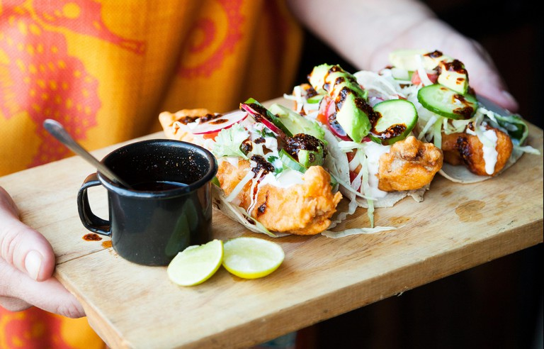 Fish tacos (tacos de pescado) Cerveceria Wendlandt, Ensenada, Baja California, Mexico