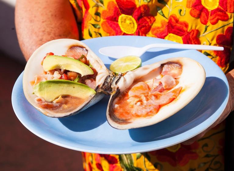 Pismo clams,La Guerrerense, Ensenada, Baja California, Mexico