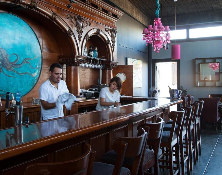 Servers at the barManzanilla,Ensenada, Baja California, Mexico