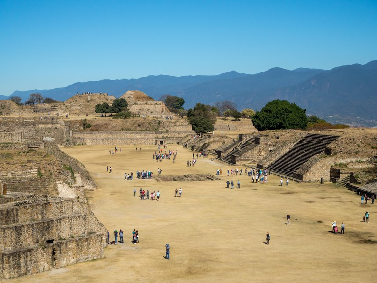 Monte Alban, Oaxaca, Mexico, South America: [Biggest ruins of ancient Zapotec city at the top of the mountain, UNESCO archeological sit