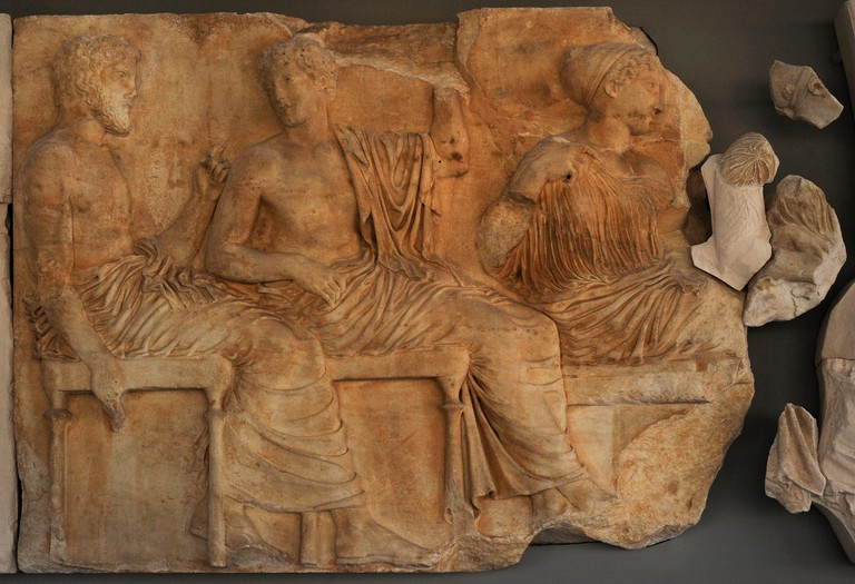 Poseidon, Apollo and Artemis in the meeting of gods. East section of the Parthenon frieze. 5th century BC. Acropolis of Athens. Acropolis Museum. Athens. Greece.