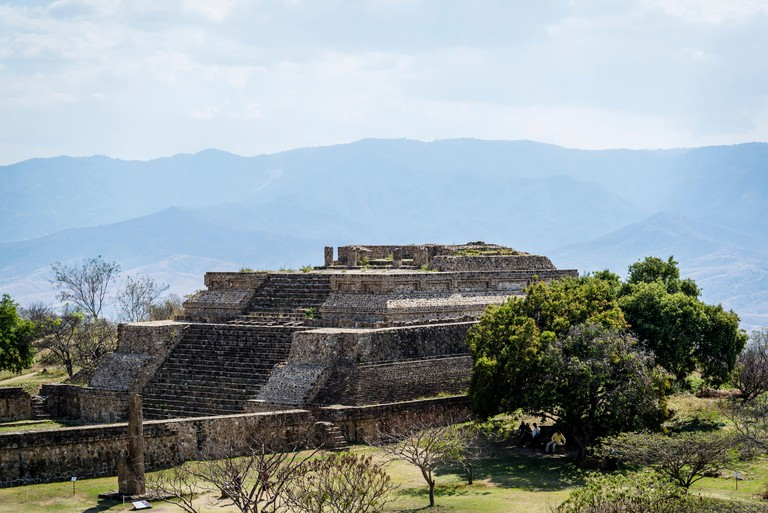 Monte Alban, a pre-Columbian archaeological site, The west side platform, Oaxaca, Mexico