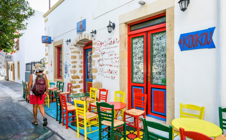 Greece, Dodecanese archipelago, Patmos island, Skala, main harbour of the island, Koukou bar in the centre of the village