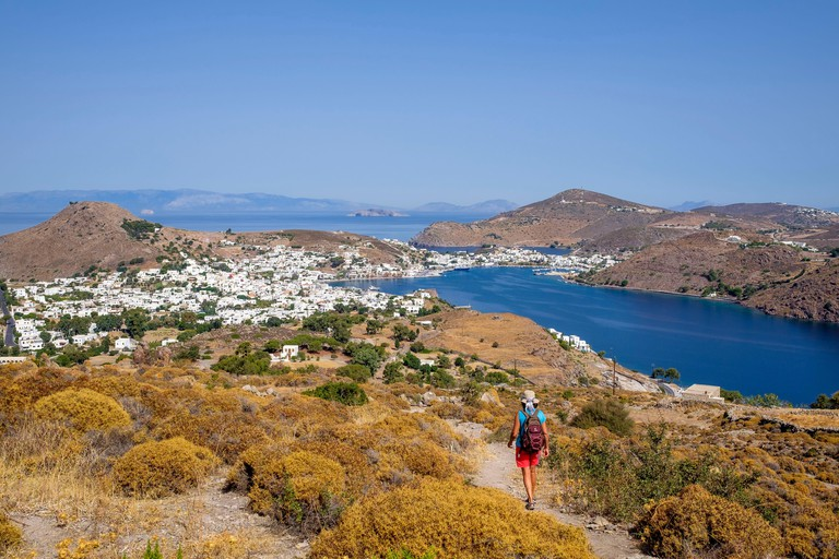 Greece, Dodecanese archipelago, Patmos island, hiking trail from Chora to Skala harbour