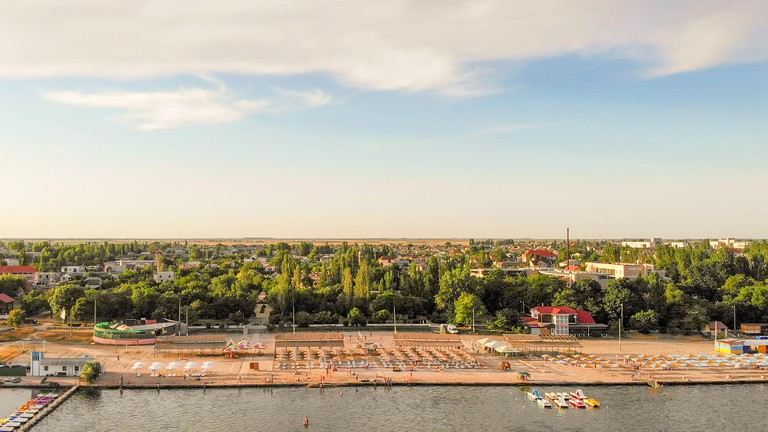 Embankment of the city of Skadovsk. Is the children's resort and port city on the Black Sea, Ukraine
