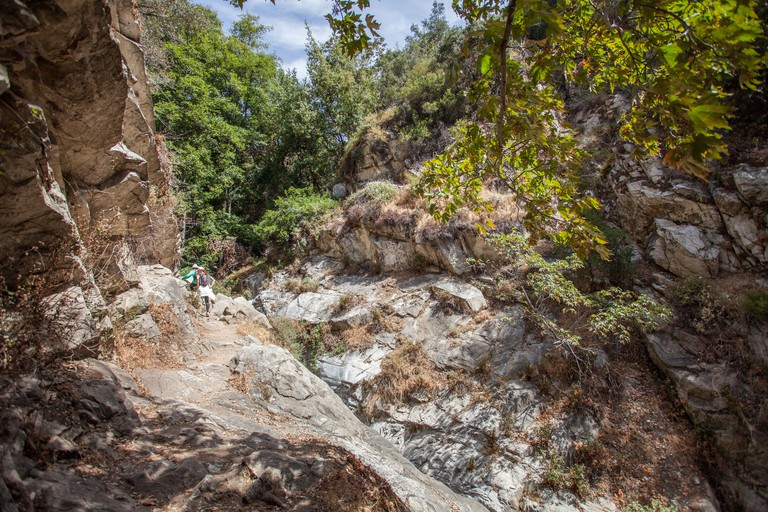 Beautiful narrow hike path alongside the creak at Santa Anita Canyon, Angeles National Forest, San Gabriel Mountain Range near Los Angeles, California- P7DN08