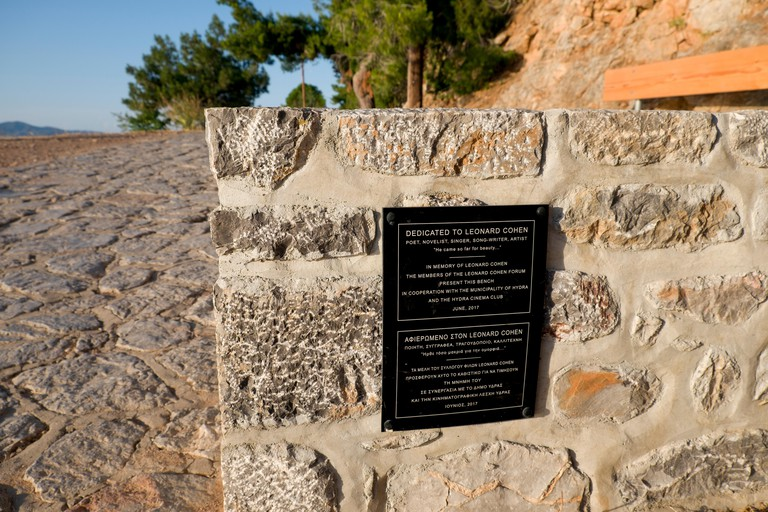 A bench dedicated to Leonard Cohen, on the coastal footpath from Hydra port to Kamini, was paid for by fans through a crowdfunding appeal.