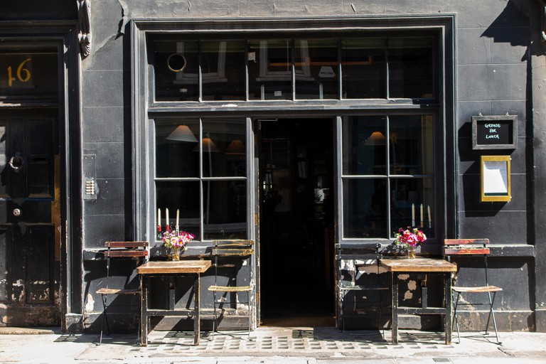 Andrew Edmunds restaurant with its shabby chic charm on Soho