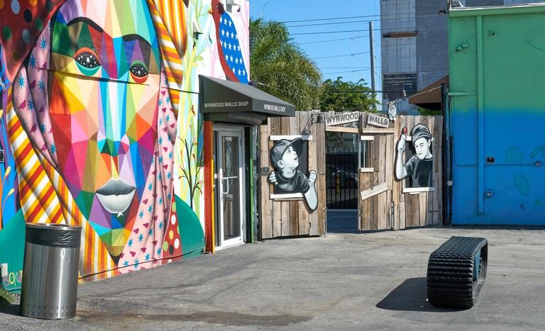MIAMI, USA - AUGUST 22, 2018: Wynwood Walls shop. Wynwood is a neighborhood in Miami, Florida known for its graffiti and street art.