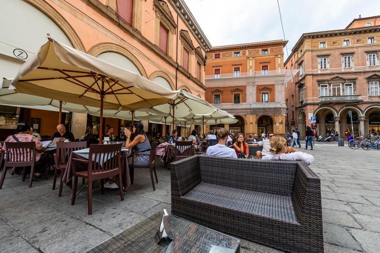 Caffe Zanarini in Piazza Galvani, Bologna, Italy.