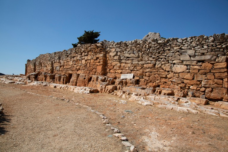 The walls of the Mycenean fortress of Ag. Andreas on the Greek island of Sifnos in the Cyclades