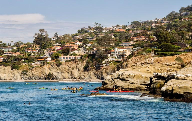 Panoramic view of kayaking and snorkeling near La Jolla Cove. R3WKFC