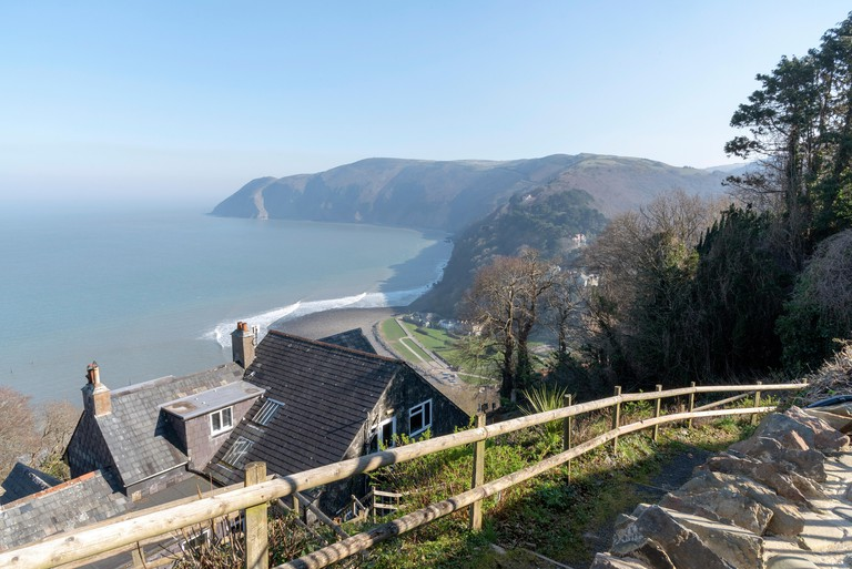 Lynton, Devon, England, UK. March 2019. A view of the Devonshire coastline towards Exmoor from Lynton a popular tourist town.