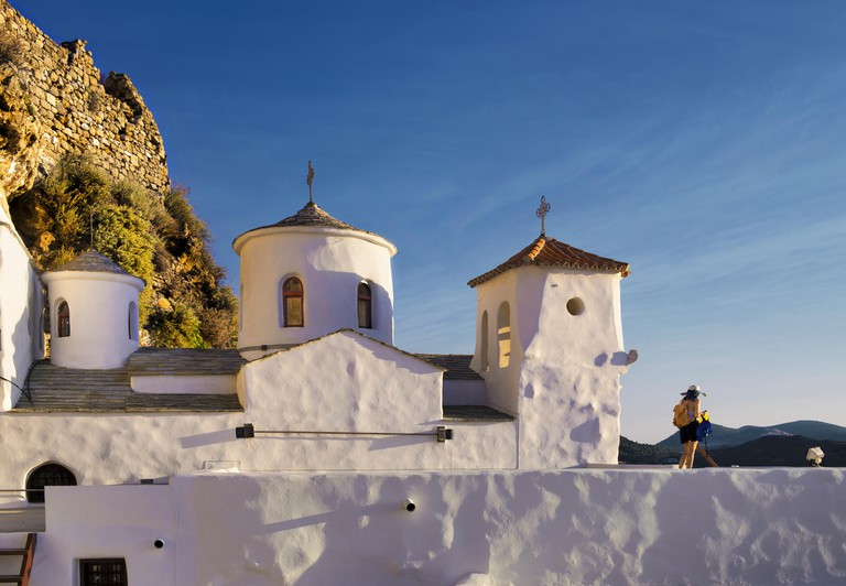 Monastery St. George of Skyros at Chora the main settlement and capital of the island of Skyros, in Sporades complex, central Greece, Aegean sea