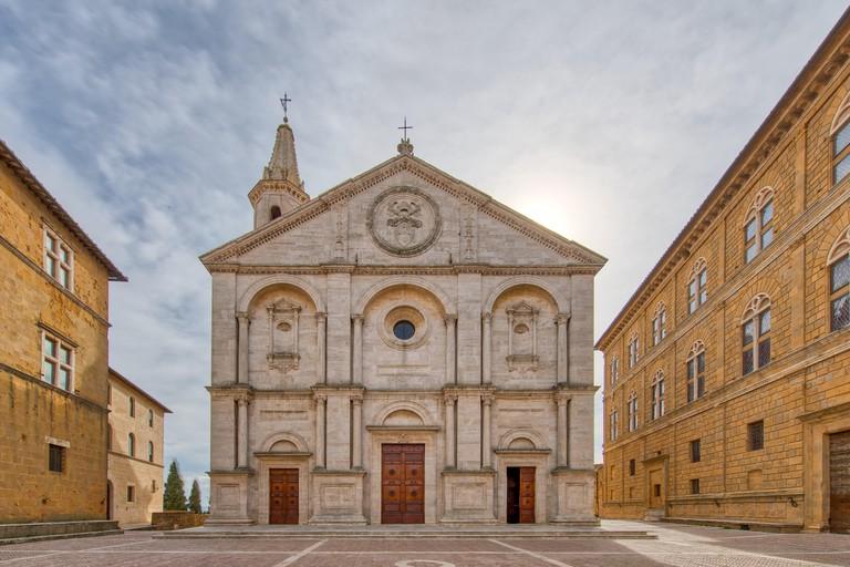 PIENZA,  ITALY - MARCH 4, 2019:The Cathedral of Santa Maria Assunta in Pienza