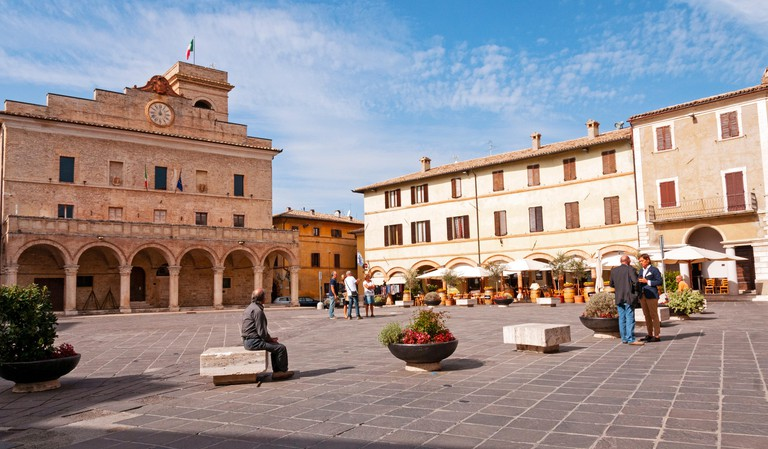 Town square in Montefalco, Umbria, Italy